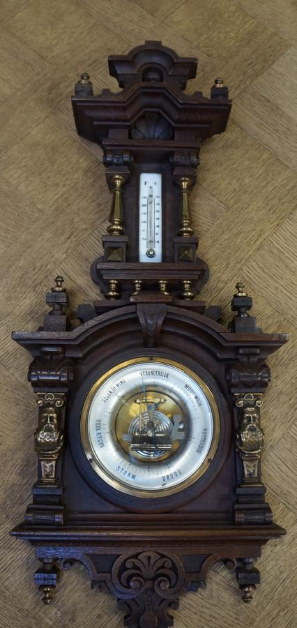 French Aneroid Barometer in Detailed Condition ...Has A Broken Thermometer