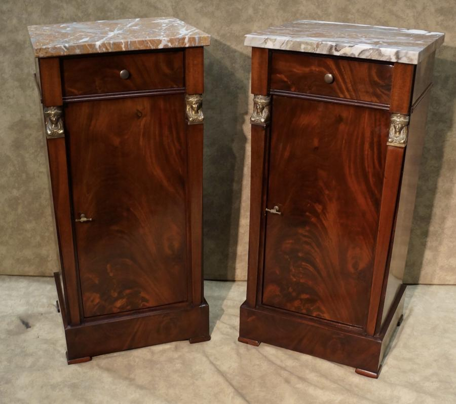 official photos 8d787 be89c Pair of French Empire Flame Mahogany Bedside Cabinets