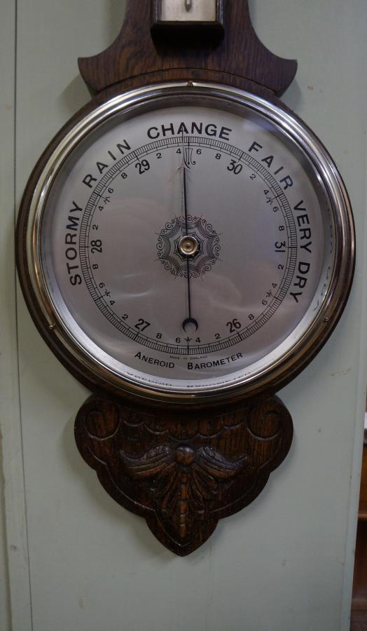 English Oak Aneroid Barometer