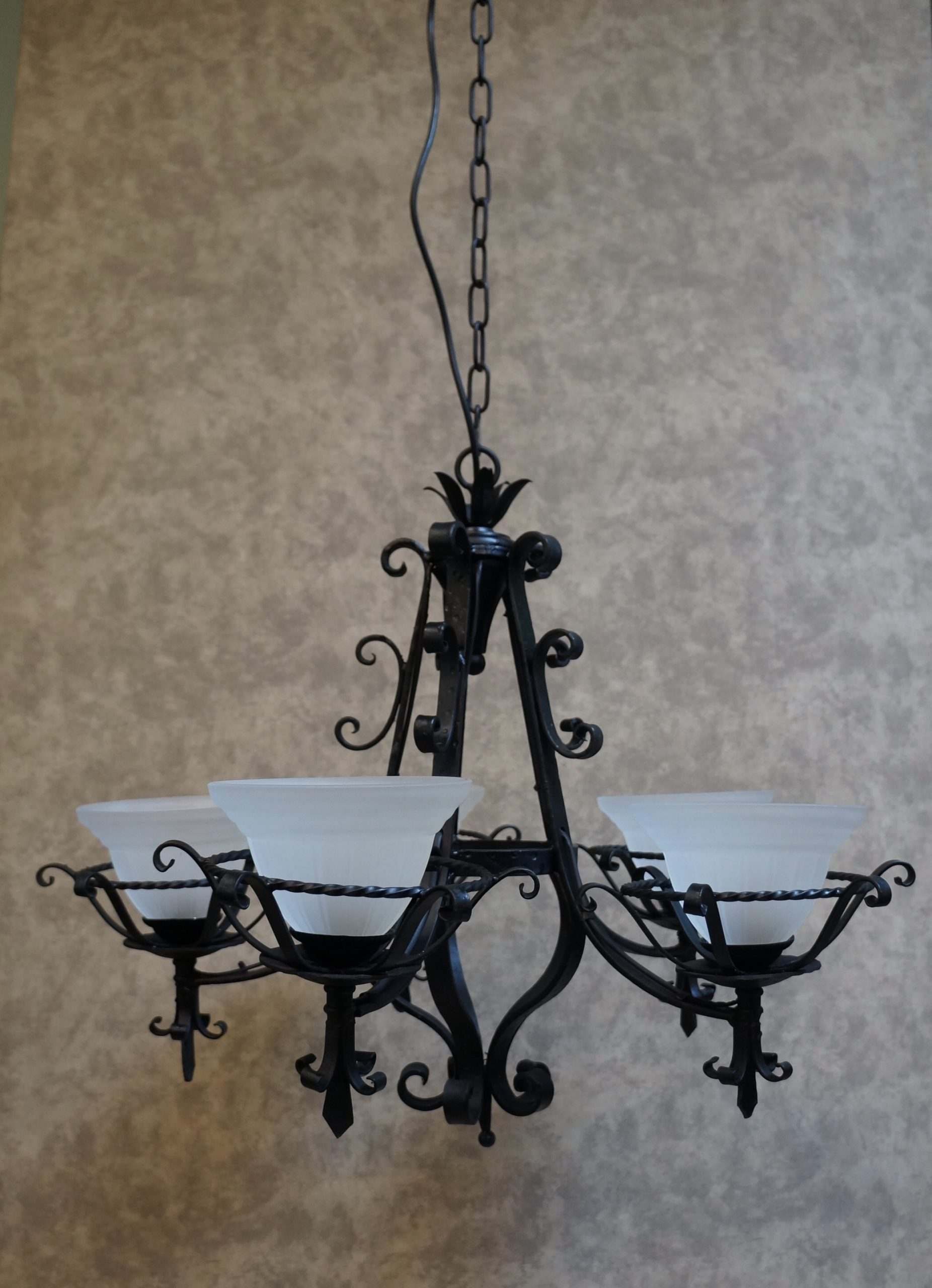 French Black Wrought Iron Chandelier Seanic Antiques